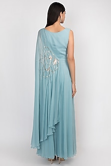 Grecian Blue Embroidered Kaftan Jumpsuit by Julie by Julie Shah