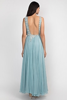 Grecian Blue Embroidered Pleated Gown by Julie by Julie Shah