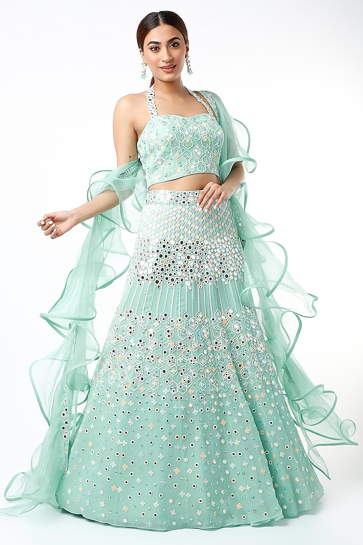 Turquoise Mirror Embroidered Lehenga Set by Julie By Julie Shah