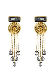 Gold Finish Drop Earrings With Swarovski Crystals & Pearls by JJ Valaya X Confluence