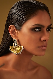 Gold Finish Half Moon Earrings With Swarovski Crystals & Pearls by JJ Valaya X Confluence