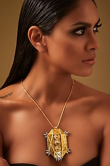 Gold Finish Pendant Necklace With Swarovski Crystals & Pearls by JJ Valaya X Confluence