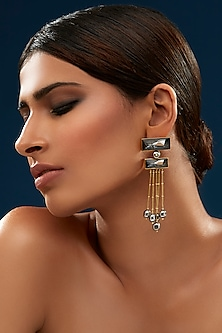 Gold Finish Tiered Earrings With Swarovski Crystals & Pearls by JJ Valaya X Confluence