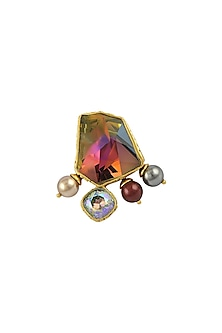 Gold Plated Isfahan Volcano Ring With Swarovski Crystals by JJ Valaya X Confluence