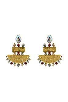 Gold Plated Isfahan Grandeur Earrings With Swarovski Crystals by JJ Valaya X Confluence