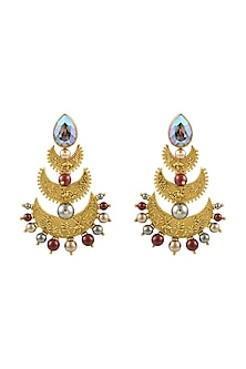 Gold Plated Isfahan Chandbali Earrings With Swarovski Crystals by JJ Valaya X Confluence