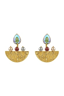 Gold Plated Isfahan Petite Chandbali Earrings With Swarovski Crystals by JJ Valaya X Confluence