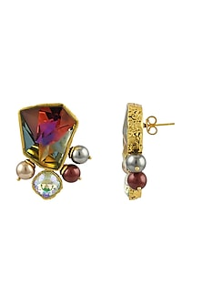 Gold Plated Isfahan Stud Earrings With Swarovski Crystals by JJ Valaya X Confluence