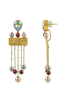 Gold Plated Isfahan Pearl Drop Earrings With Swarovski Crystals by JJ Valaya X Confluence