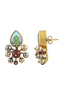 Gold Plated Isfahan Cluster Earrings With Swarovski Crystals by JJ Valaya X Confluence