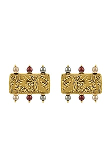 Gold Plated Isfahan Brick Earrings With Swarovski Crystals by JJ Valaya X Confluence