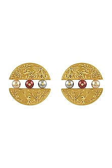 Gold Plated Isfahan Circular Earrings With Swarovski Crystals by JJ Valaya X Confluence