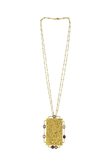 Gold Plated Isfahan Rectangular Pendant With Swarovski Crystals by JJ Valaya X Confluence