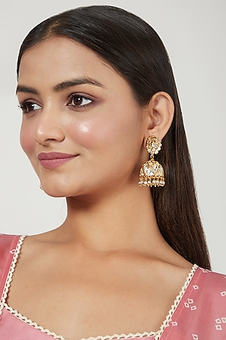 Gold Finish Jhumka Earrings by Just Jewellery