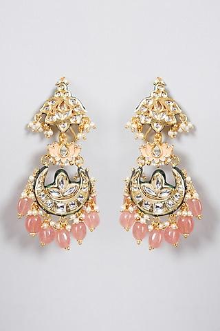 Gold Finish Pink Meenakari Earrings by Just Jewellery