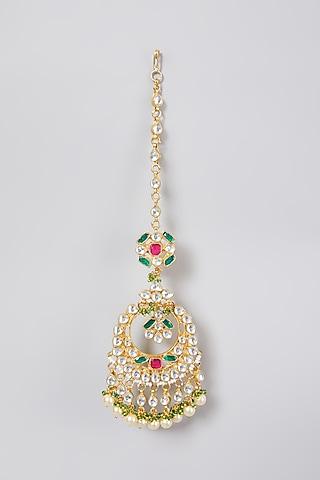 Gold Finish Jadtar Maang Tikka by Just Jewellery