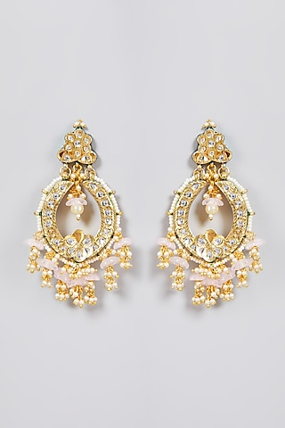 Gold Finish Chandbali Earrings by Just Jewellery