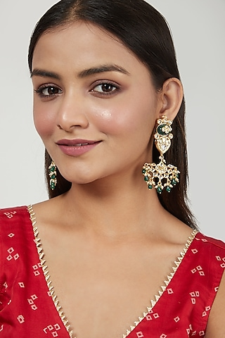 Gold Finish Moti Earrings by Just Jewellery