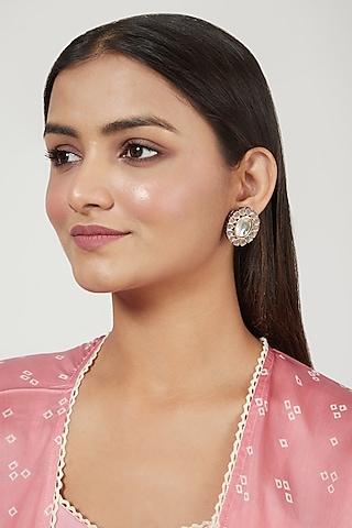 Gold Finish Grey Chandbali Earrings by Just Jewellery