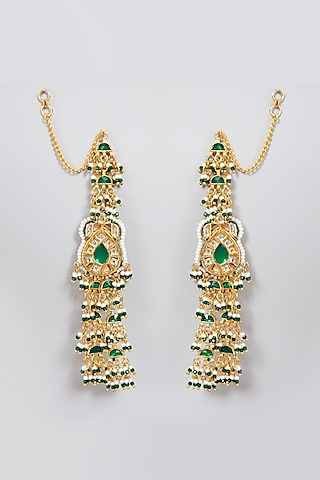Gold Finish Green Earrings by Just Jewellery