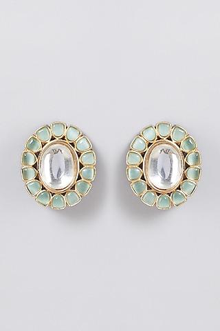 Gold Finish Green Pokli Earrings by Just Jewellery