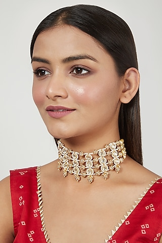 Gold Finish Choker Necklace With Moti by Just Jewellery