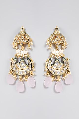 Gold Finish Meenakari Jadtar Earrings by Just Jewellery