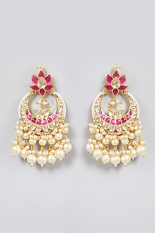 Gold Finish Pearl Chandbali Earrings by Just Jewellery