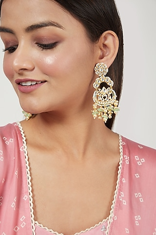 Gold Finish Chandbali Earrings With Ghugroos by Just Jewellery