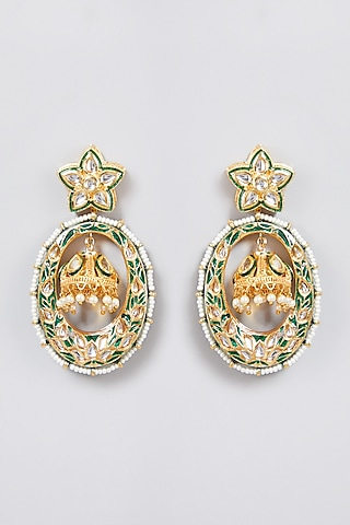 Gold Finish Green Meenakari Earrings by Just Jewellery