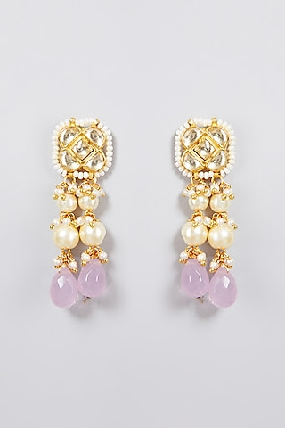 Gold Finish Stud Earrings by Just Jewellery