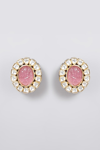 Gold Finish Pink Jadtar Earrings by Just Jewellery