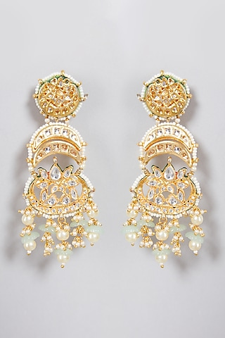 Gold Finish Semi-Preciouse Stone Chandbali Earrings by Just Jewellery
