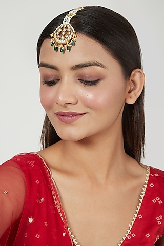 Gold Finish Pearl Maang Tikka by Just Jewellery
