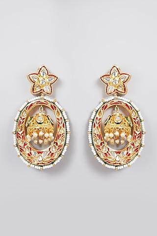 Gold Finish Meenakari Earrings by Just Jewellery