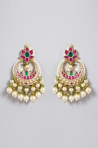 Gold Finish Green Chandbali Earrings by Just Jewellery