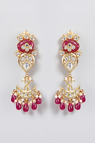 Gold Finish Chandbali Earrings With Jadtar by Just Jewellery