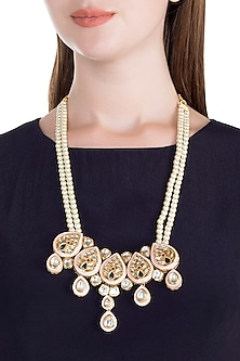 Gold Finish Meenakari & Polki Jadtar Semi-Precious Pearls Necklace by Just Jewellery