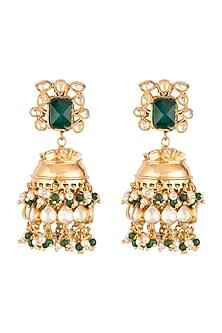 Gold Finish Polki Jadtar Jhumka Earrings by Just Jewellery