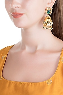 Gold Finish Polki Jadtar Jhumka Earrings by Just Jewellery