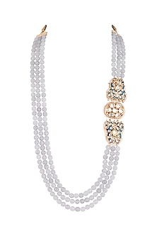 Gold Finish Blue Thewa Jadtar Semi-Precious Pearls Necklace by Just Jewellery
