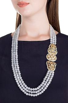 Gold Finish Blue Thewa Jadtar Semi-Precious Pearls Necklace by Just Jewellery