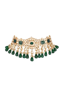 Gold Finish Semi-Precious Green Jadtar Choker by Just Jewellery