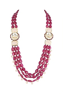 Gold Finish Red Meenakari Jadtar & Bead Necklace by Just Jewellery