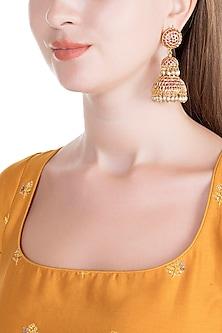 Gold Finish Semi-Precious Red Stones Jadtar Jhumka Earrings by Just Jewellery