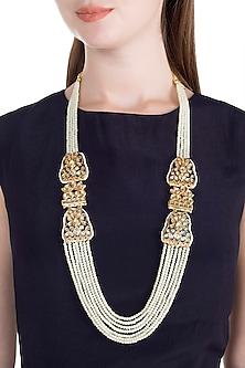 Gold Finish Thewa Jadtar Semi-Precious Pearls Necklace by Just Jewellery