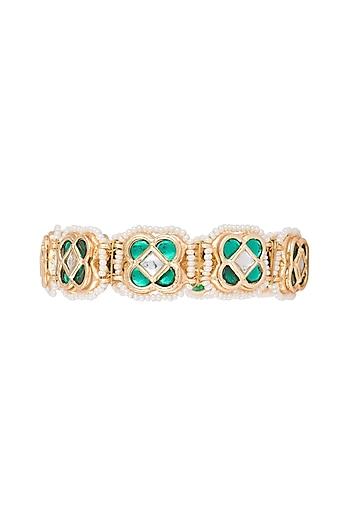 Gold Finish Semi-Precious White & Green Jadtar Bangle by Just Jewellery