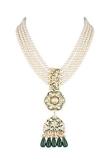 Gold Finish Green Meenakari & Thewa Jadtar Pendant Necklace by Just Jewellery