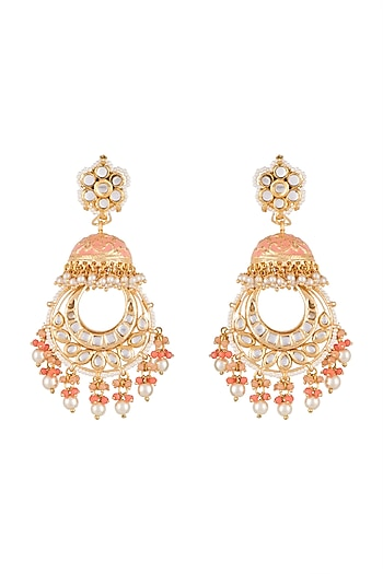 Gold Finish Pink Meenakari Jadtar Jhumka Style Chandbali Earrings by Just Jewellery