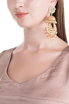 Gold Finish Pink Meenakari Jadtar Jhumka Style Chandbali Earrings by Just Jewellery